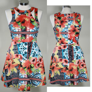 Dresses & Skirts - FLORAL DRESS WITH CUT OUTS